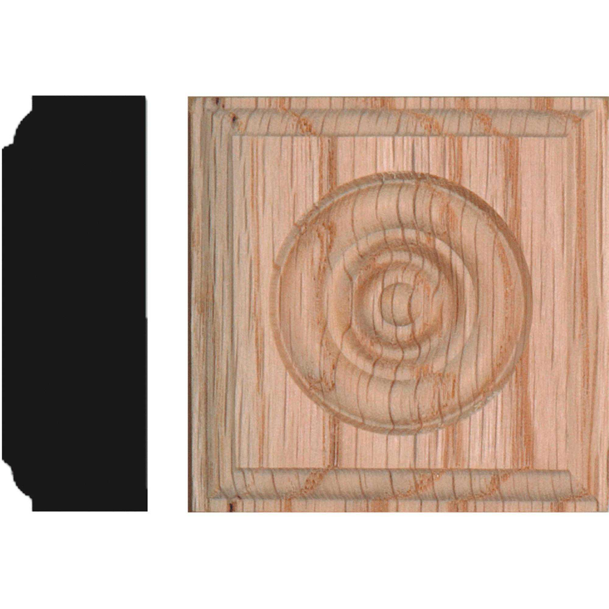 Solid Red Oak 7/8' x 2-1/2' Rosette Block