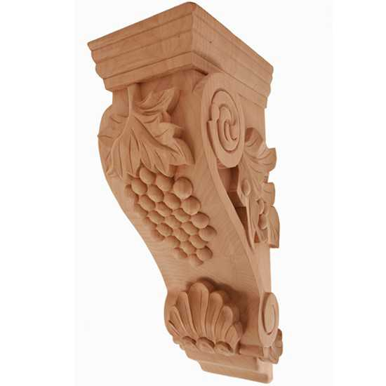 Large Grape Corbel Alder 6-3/4 x 7-3/4 x 22