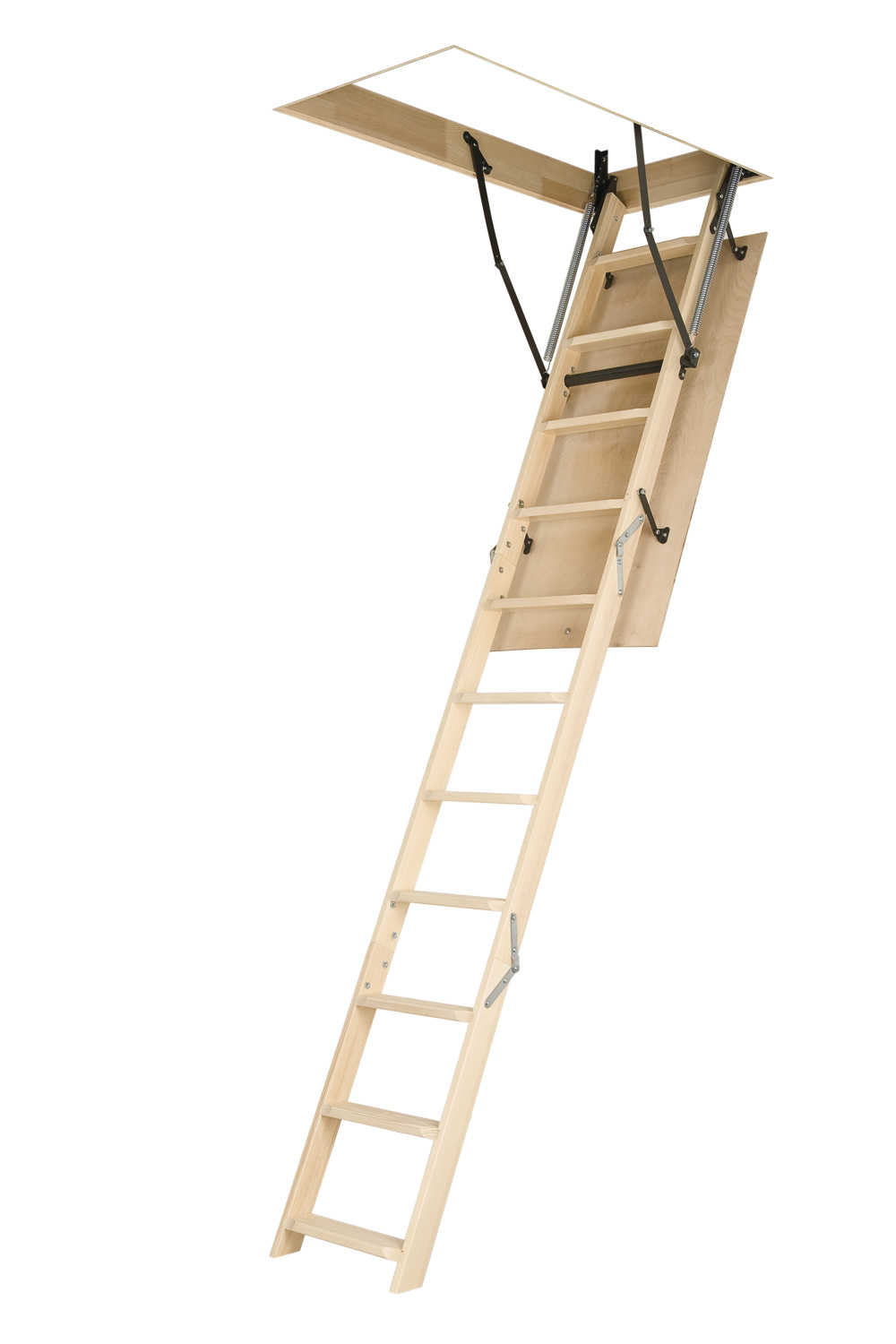 25'x47' Fakro Wooden Folding Ladder (LWN) Basic Attic Stair
