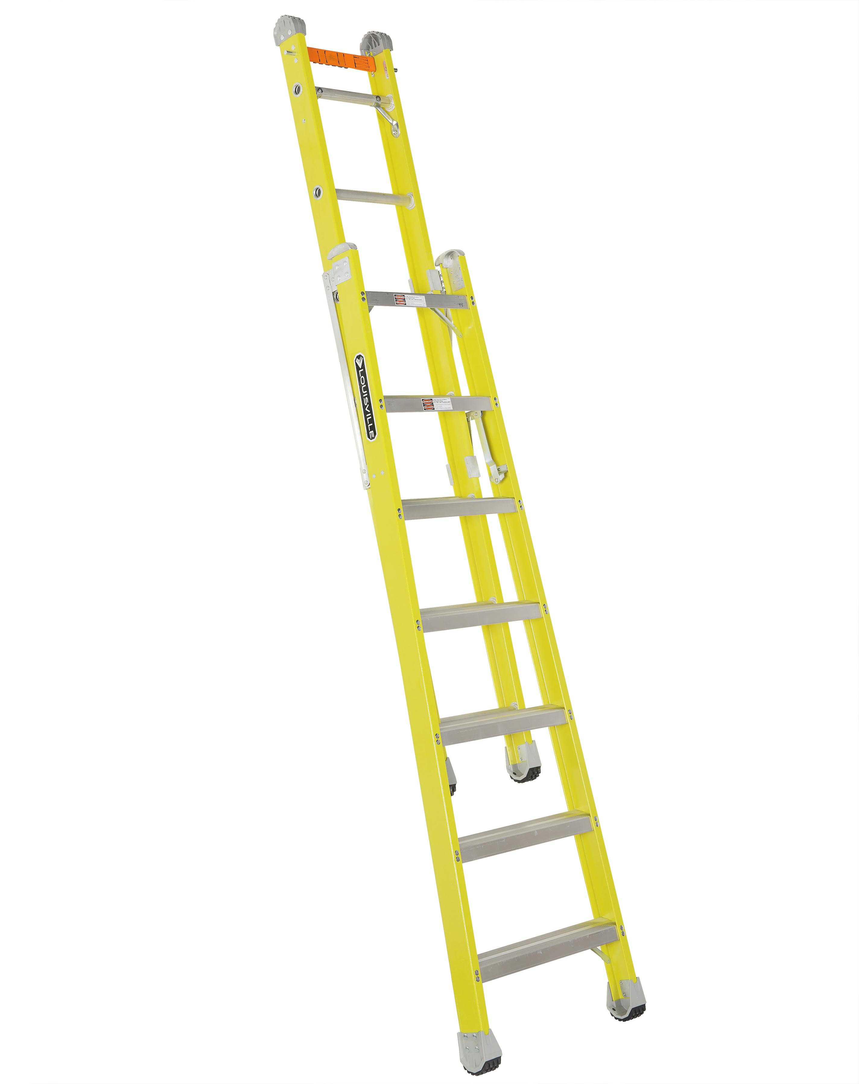 Louisville Ladder FXC1207 7 ft Fiberglass Combination Ladder, Type IAA, 375 Lbs Load Capacity
