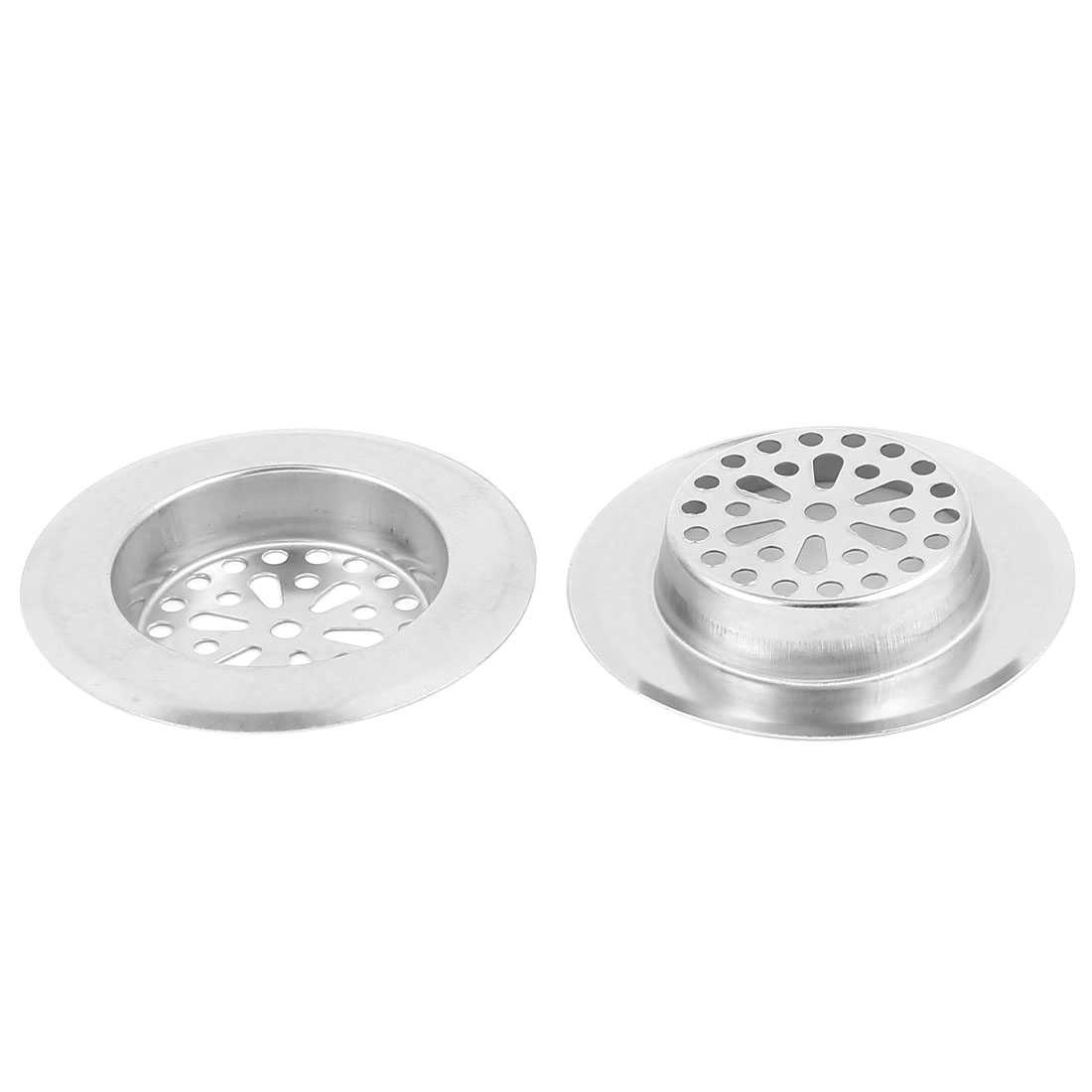 Bathroom Stainless Steel Sink Strainer Floor Drain Filter Stopper 3' Top Dia 2 Pcs