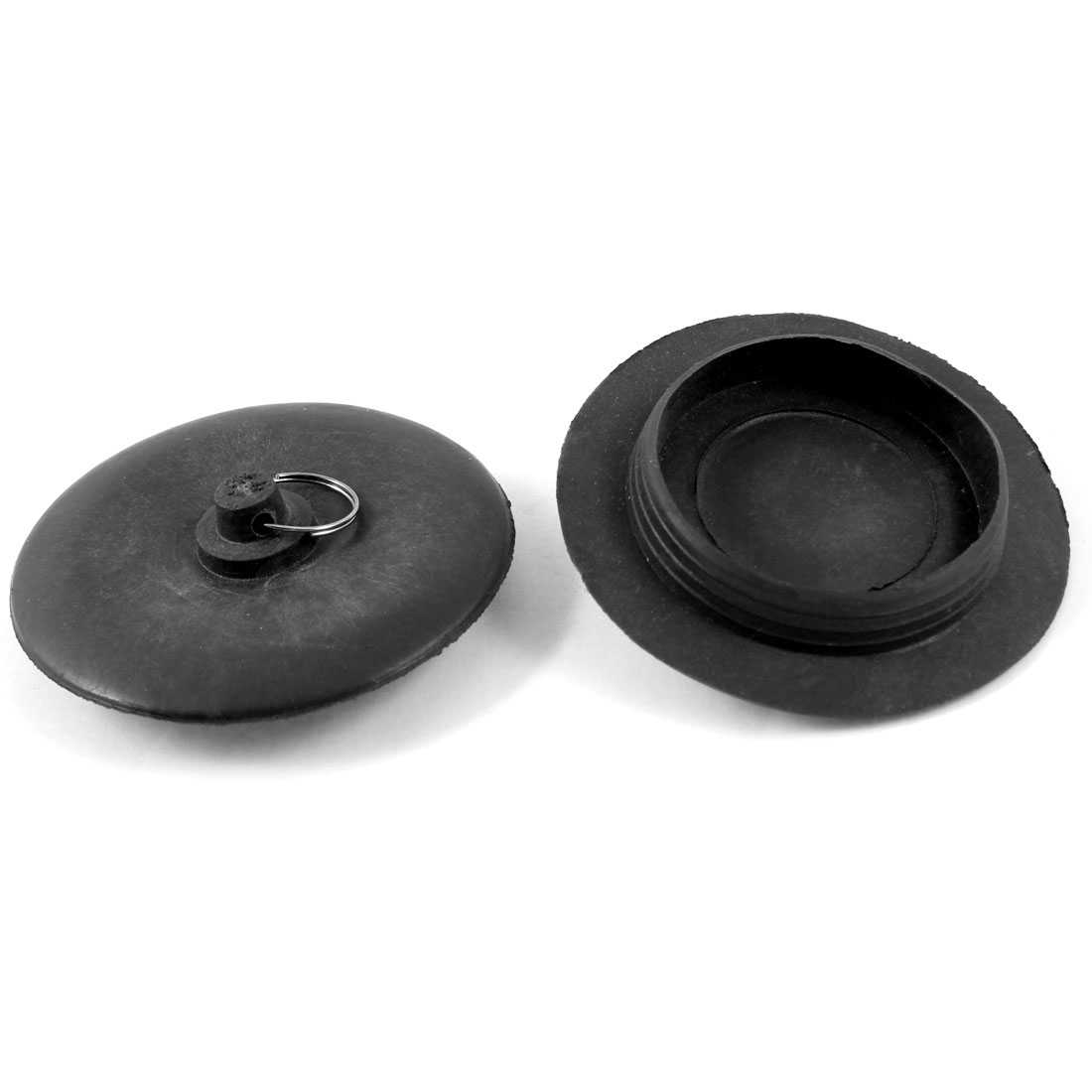 Unique Bargains 2 Pieces Black Rubber Stopper Bathtub Sink Wash Basin Plug 46mm Male Thread