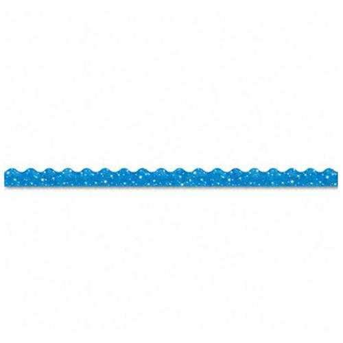 Trend Terrific Trimmers Sparkle Trimmer - Rectangle Topped With Waves - 2.3' X 32.5' - Paper - Blue (T91413)