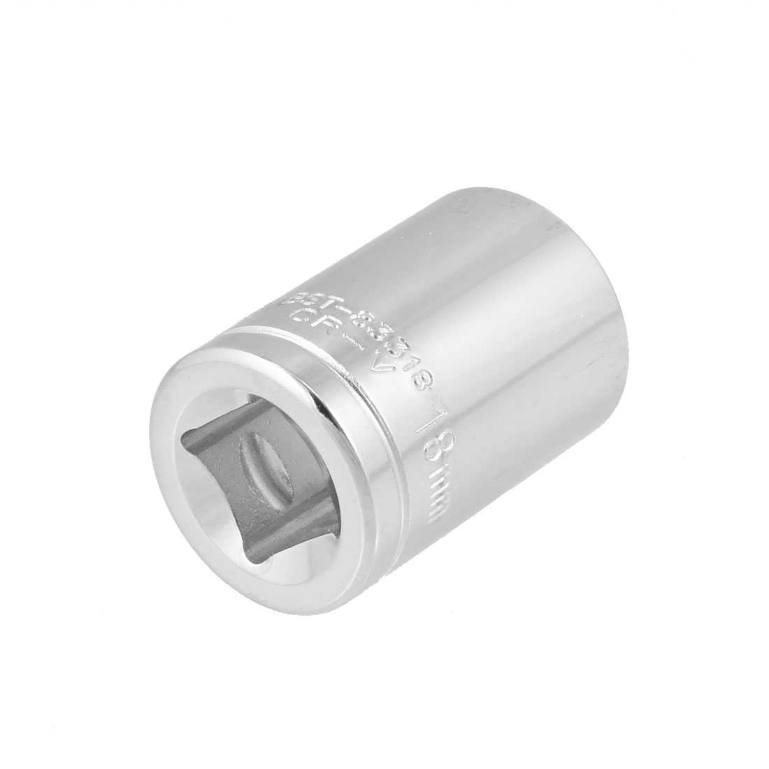 Unique Bargains Chrome Plated Metal 18mm Width Axle Hex Socket for 1/2' Drive Insert