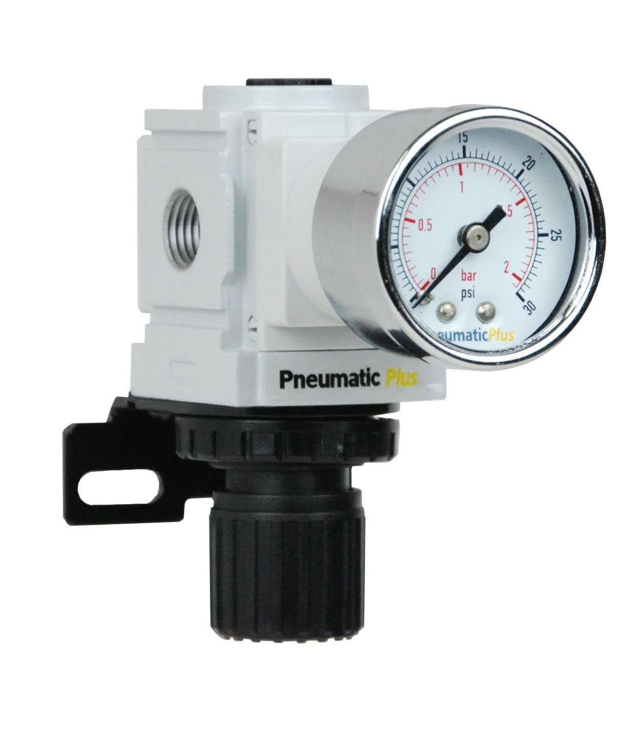 PneumaticPlus PPR2-N02BG-2 Compressed Air Regulator, Instrument Pressure 0-30 PSI, 1/4' NPT, Gauge & Bracket