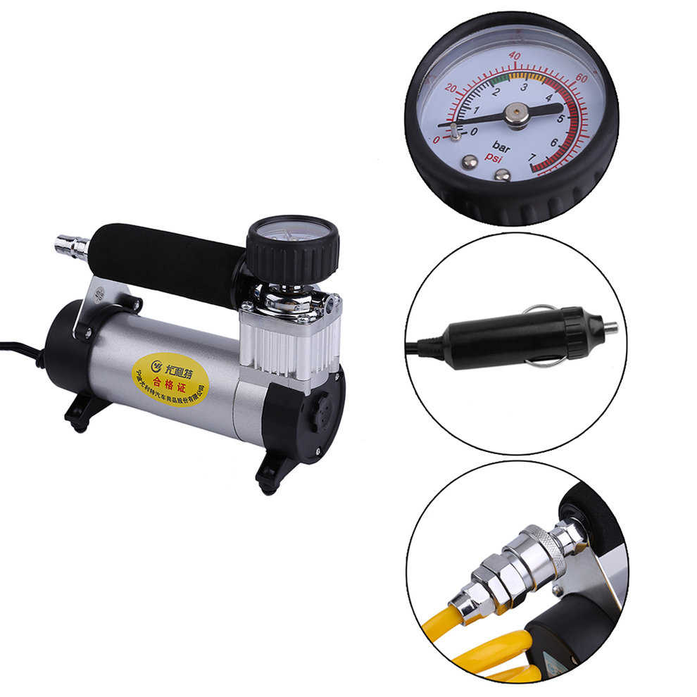 Super Flow Vehicle Car Tire Inflation Pump Inflator Portable Electric 12V 100PSI Air Compressor Auto Pump YD-3035A