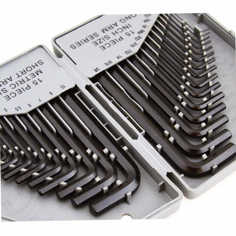 30 Pc Combo Hex Key Allen Wrench Set SAE Metric Long and Short Arm with Storage Case