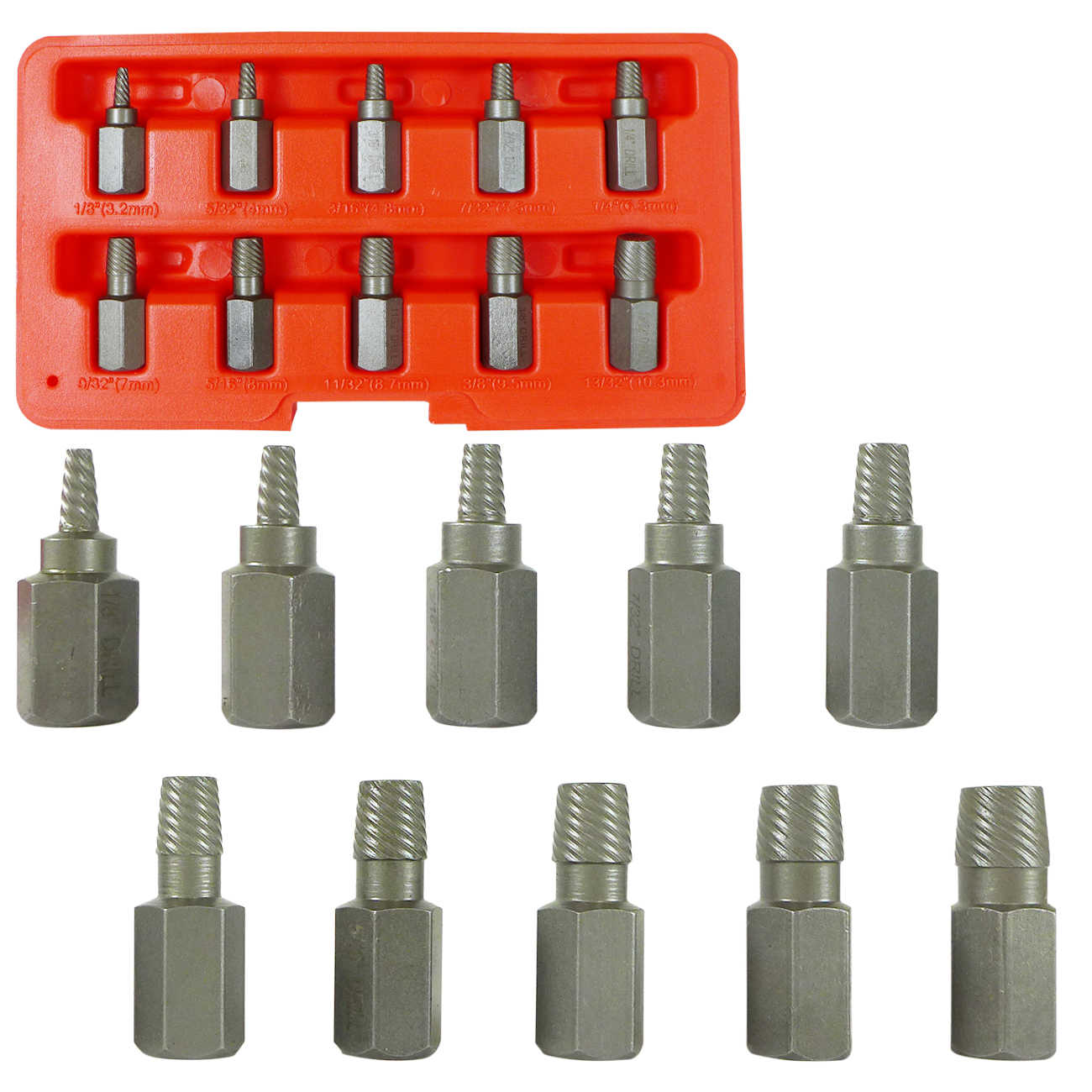Neiko Multi-Spline Screw Extractor | 10pc Set Hex Head Bit Socket Wrench Bolt Remover