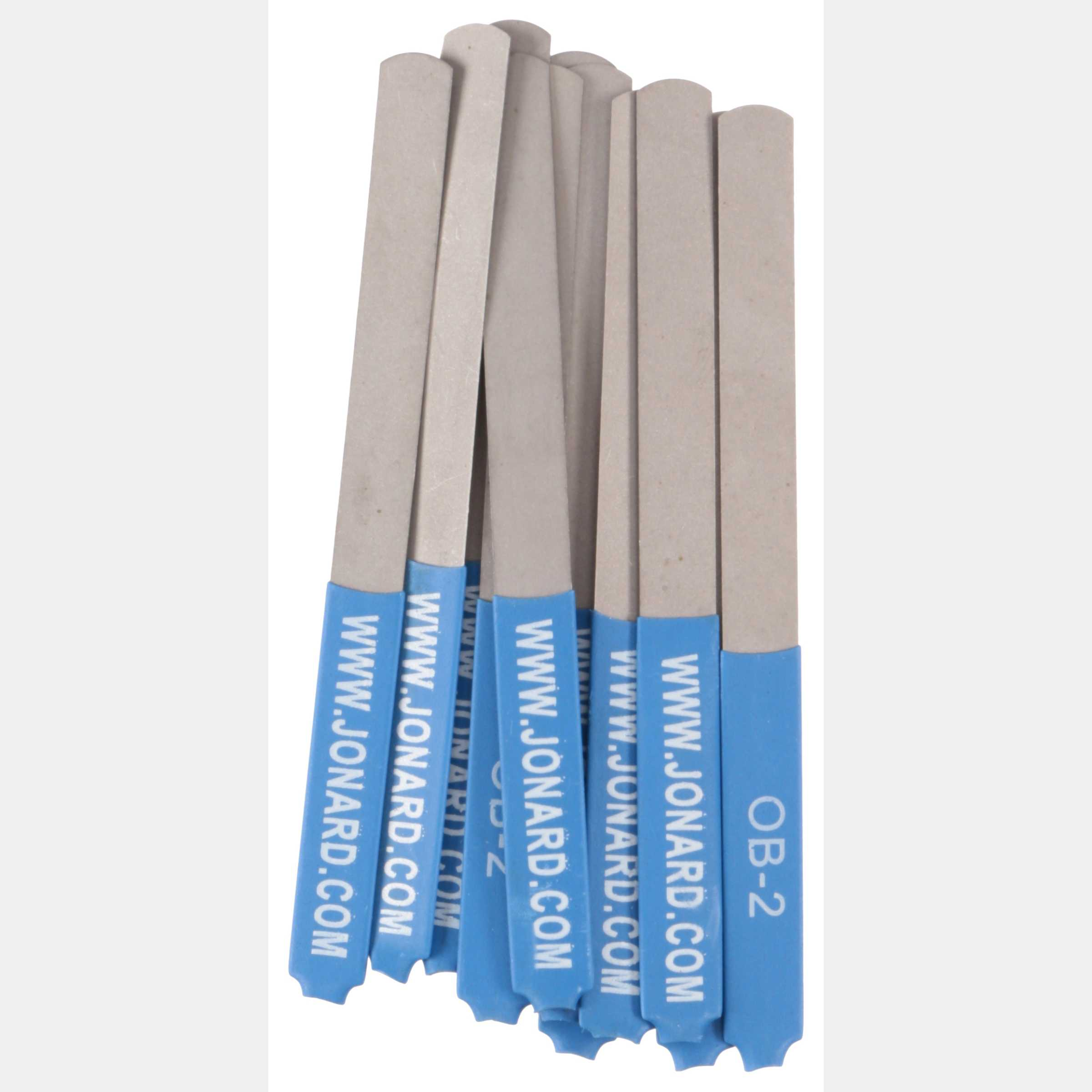 Jonard OB-2/12 0.007' Burnisher Files for Extra Sensitive Points, 12-Pack, Blue Insulated Handle