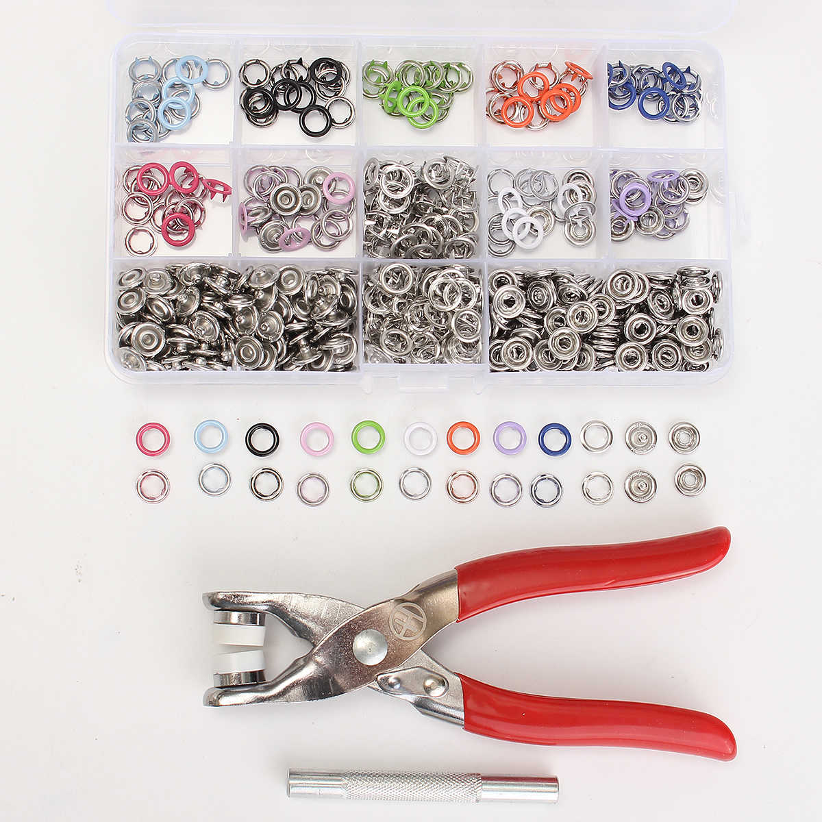 150 Sets 9.5mm 10 Colors Prong Ring Press Studs Snap Sewing Fasteners Dummy Clip Pliers Poppers Plier