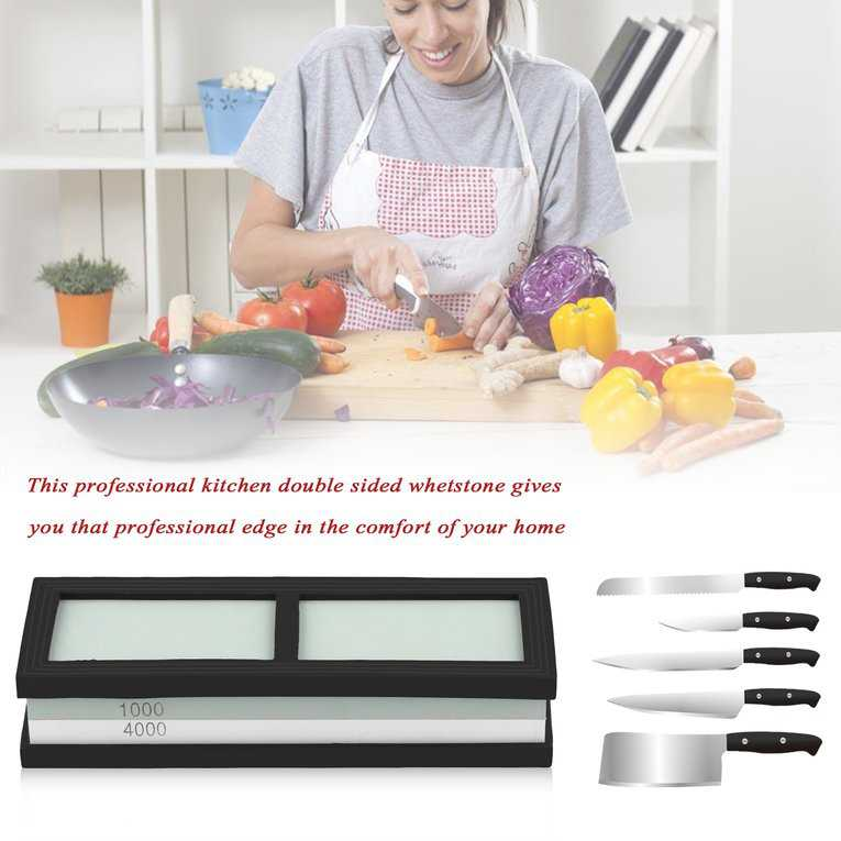 Kitchen Whetstone Knife Grit 1000#4000 Sharpener Double Side Sharpening Stone Stand Knife Grit Sharpener Stone