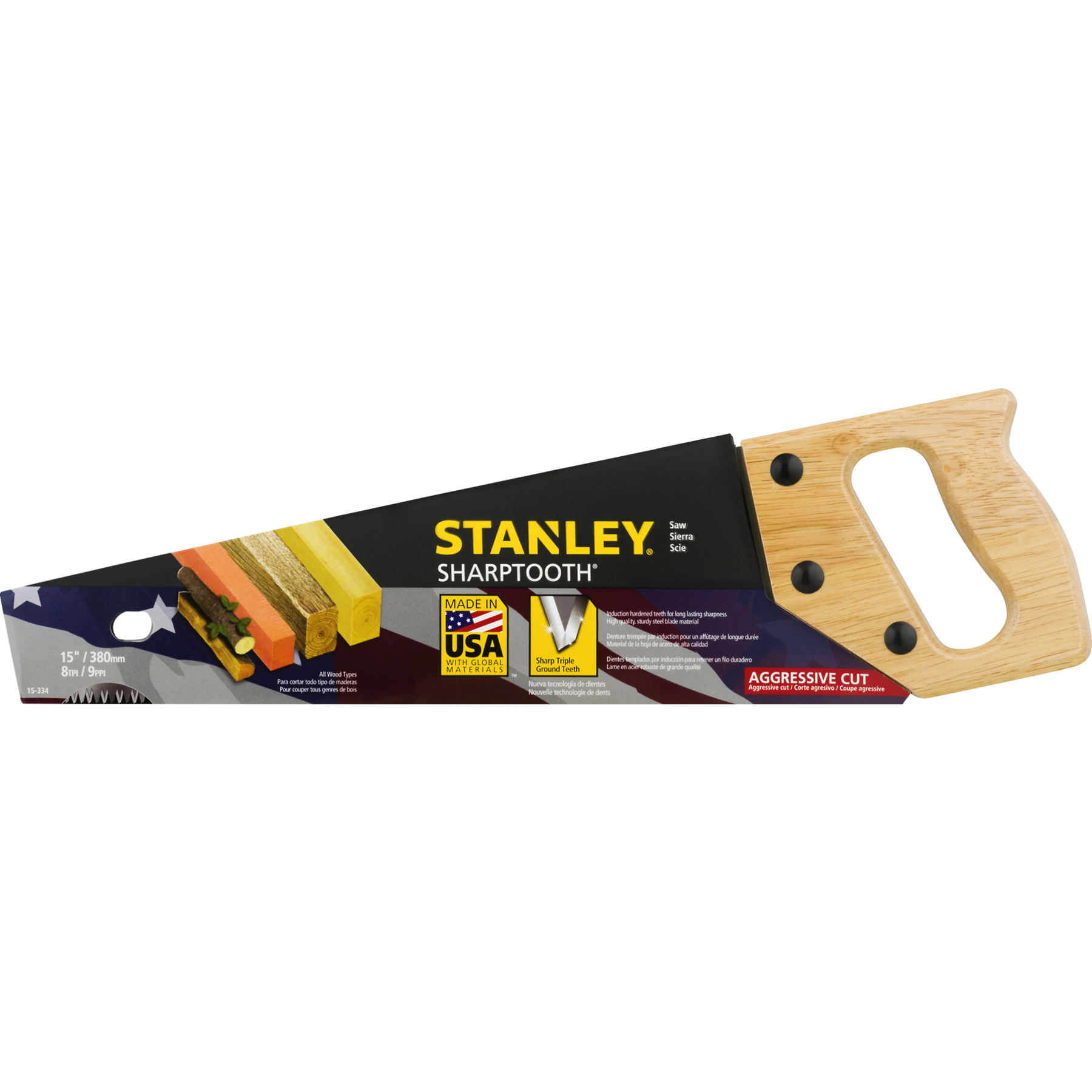 Stanley Sharp Tooth Saw 15', 1.0 CT