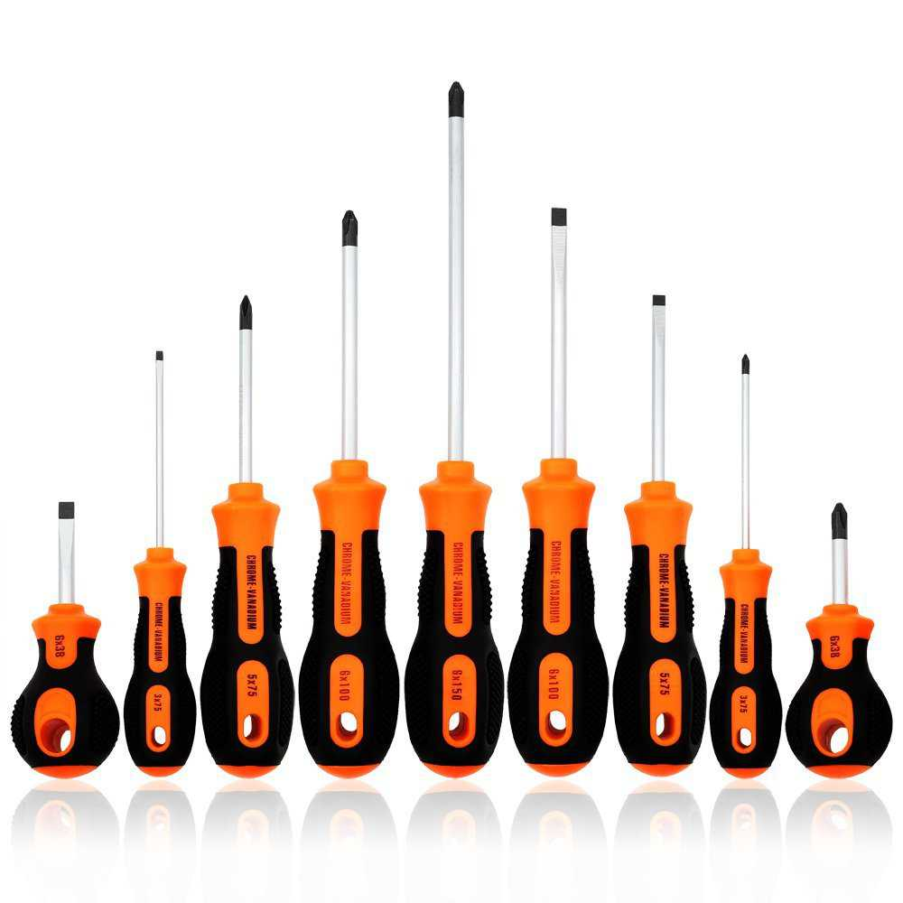 Kingsdun Phillips and Flathead Screwdriver Set, 9pcs Long and Stubby Screwdriver Set with Magnetic Tips and Comfortable Non-skid Handle, Heavy Duty Hand Tool Kit for Repairing,Crafting