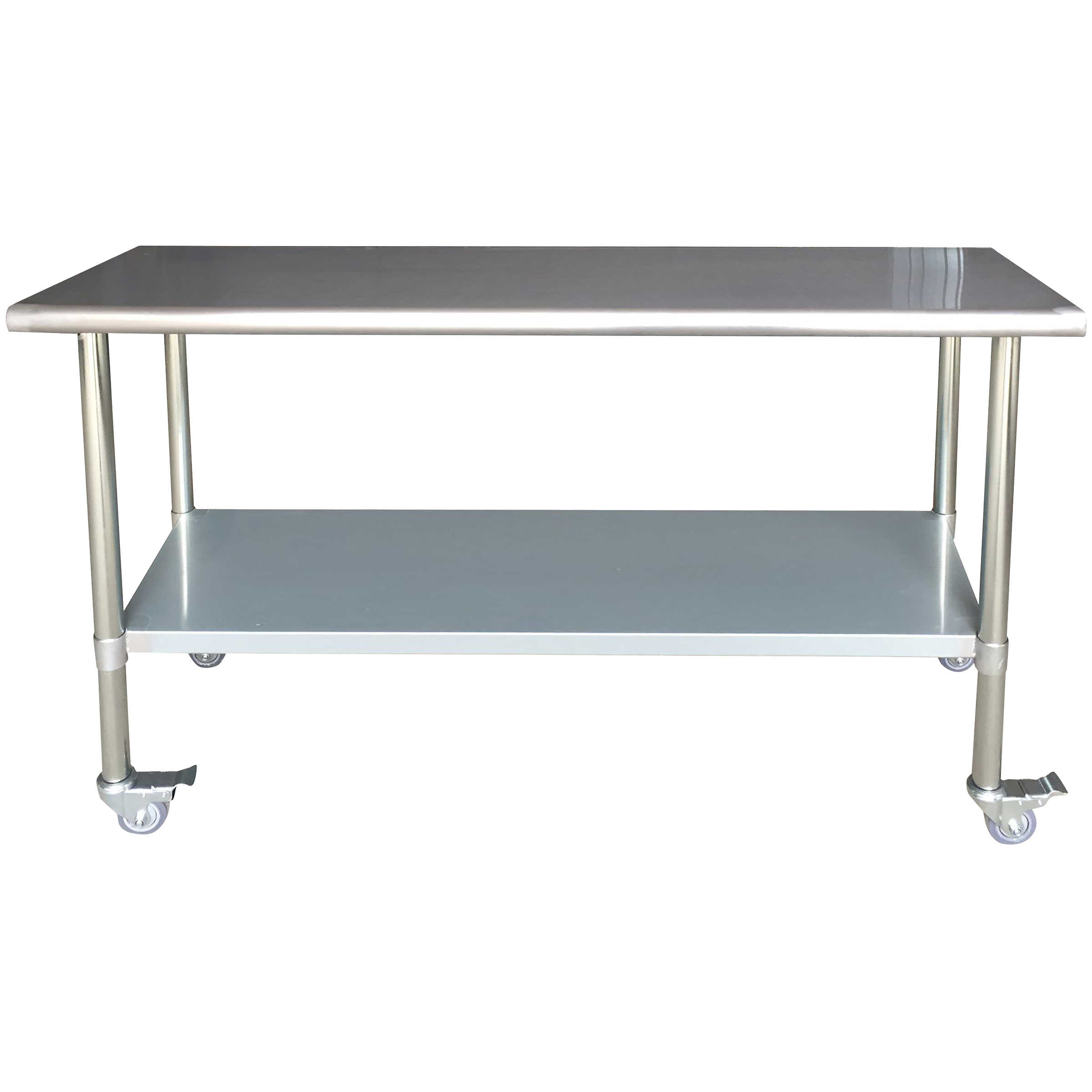 Sportsman Series Stainless Steel Work Table with Casters 24 x 72 Inches
