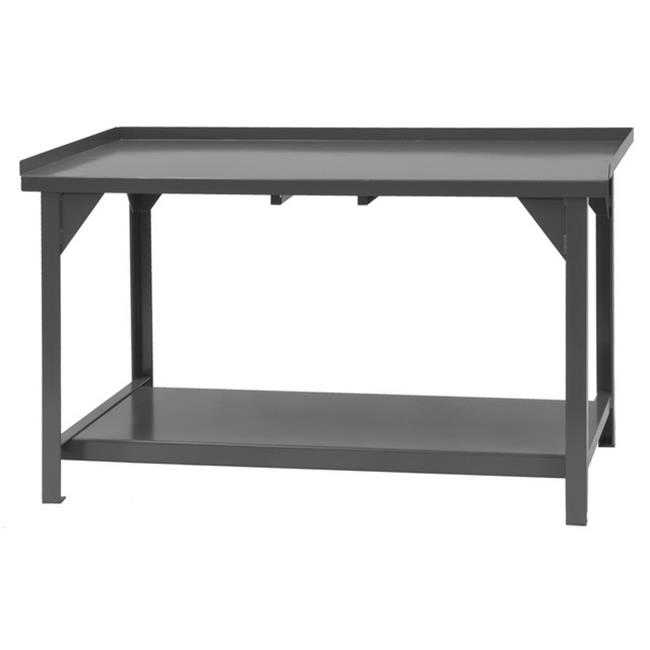 Heavy Duty Steel & Iron Workbench with Back & End Stops - 72 x 30 x 34 in.