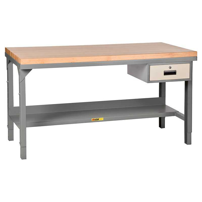 Little Giant Butcher Block Top Workbench with Drawer - Fixed - 48W x 24D x 37.75H in.