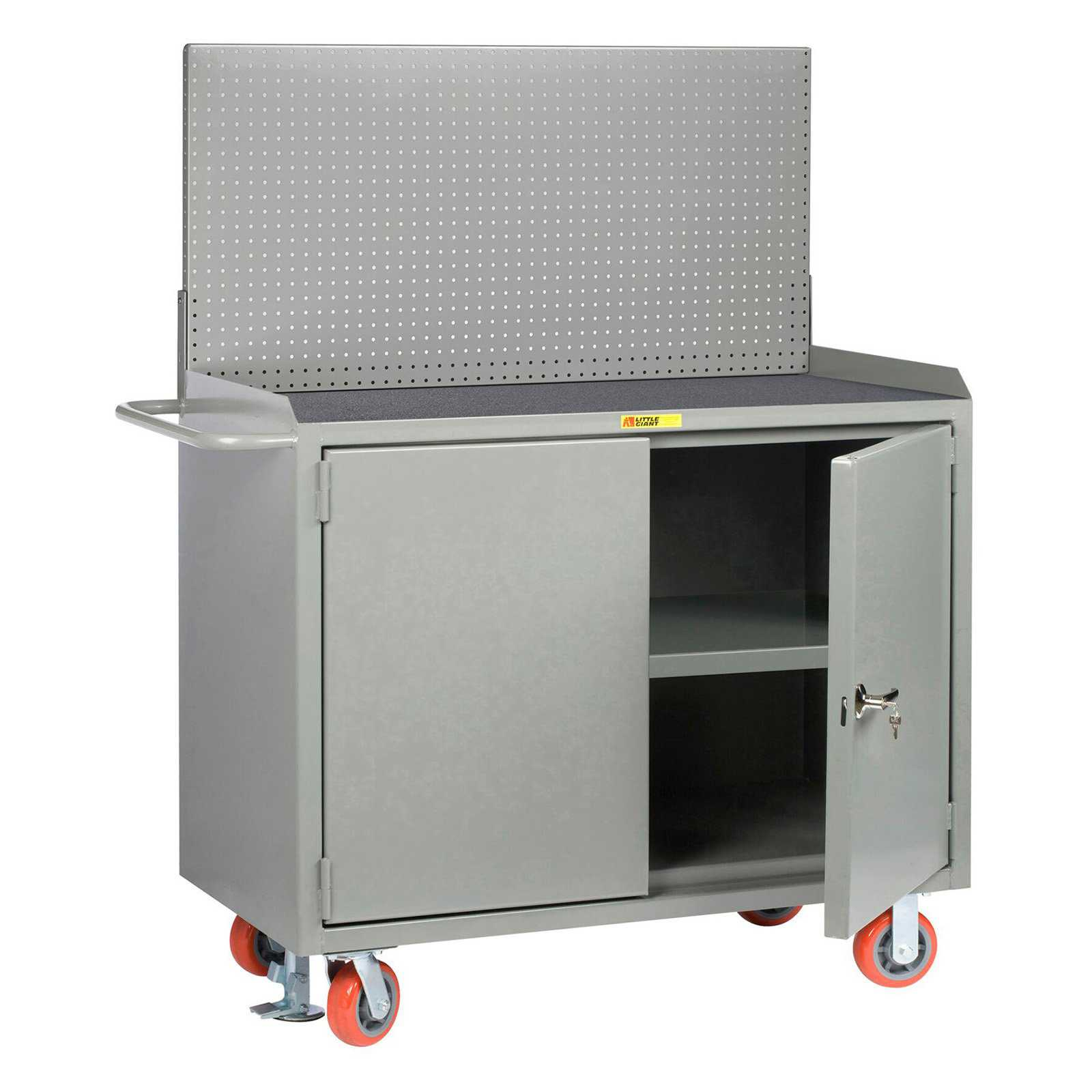 Little Giant 48 in. Wide Mobile Bench Cabinets with Pegboard Tool Storage