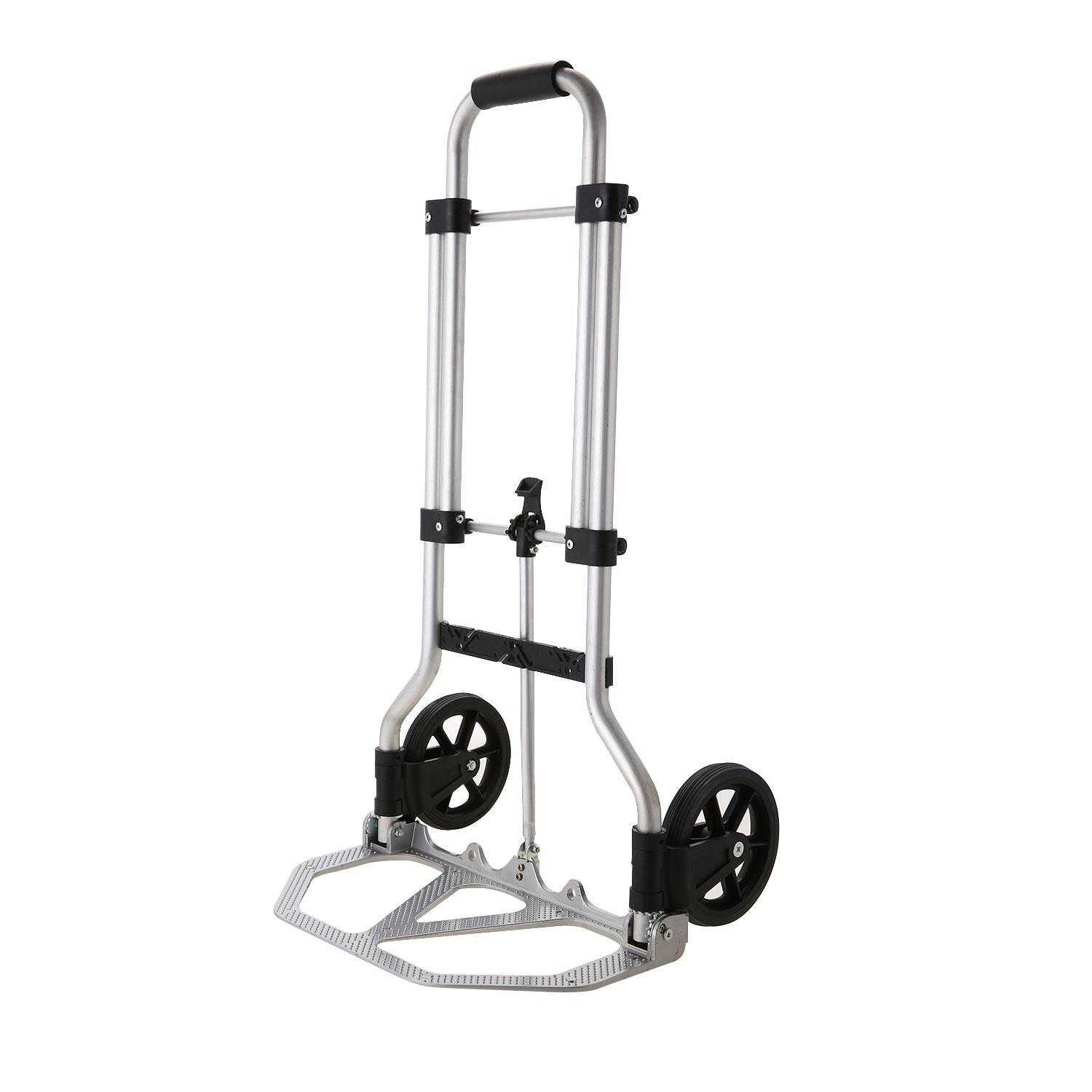 Folding Hand Truck and Dolly, 165 Lb Capacity Heavy-Duty Luggage Trolley Cart With Telescoping Handle and Rubber Wheels,shopping bag ECBY