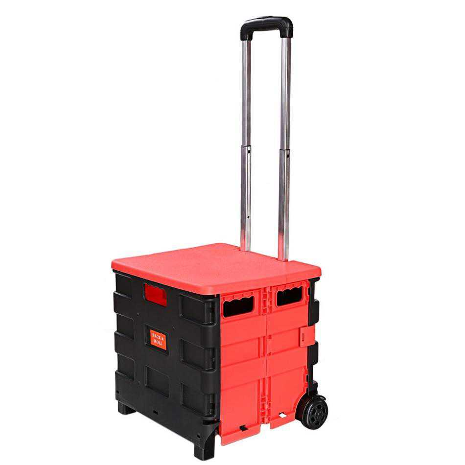 Cart Two-Wheeled Collapsible Handcart with Red Lid Rolling Utility Cart with seat heavy duty lightweight VAF