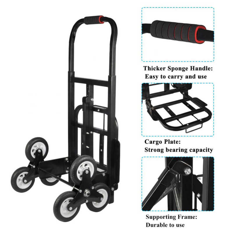 Stair Climber Hand Truck, Folded Handtruck Hardware Garden Utilty Cart, Three-wheel Chassis Portable Stair Climber Hand Trolley Cart