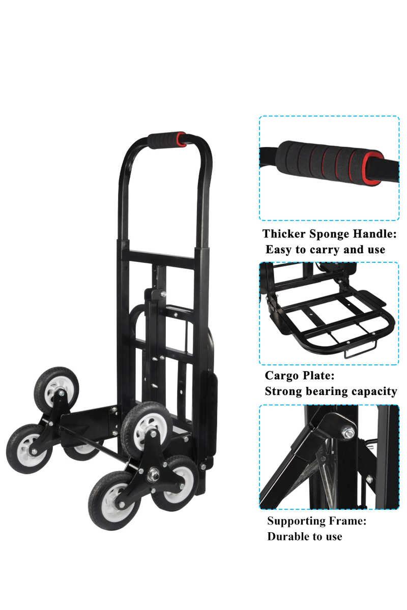 440LBS Stair Climber Hand Truck, SOLID RUBBER TIRES-440LBS Barrow Hand Truck Bracket Roll Cart Trolley