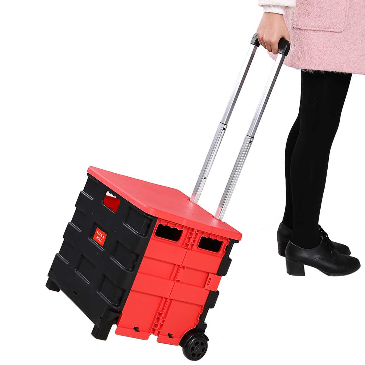 Clearance&Sales!Folding Shopping Cart - Utilitic Folding Shopping Cart - Transport Up to 44.1 Pounds (Made by High Grade PP), Black Red BTC