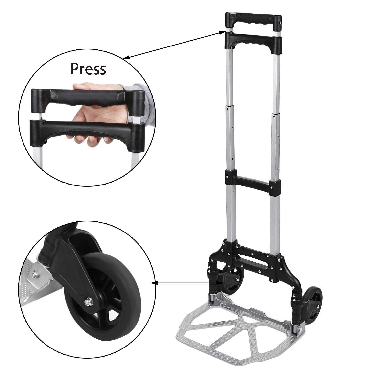 Folding 150 lbs Telescoping Hand Truck Hand Truck Aluminum Alloy Dolly Luggage Carts VAF