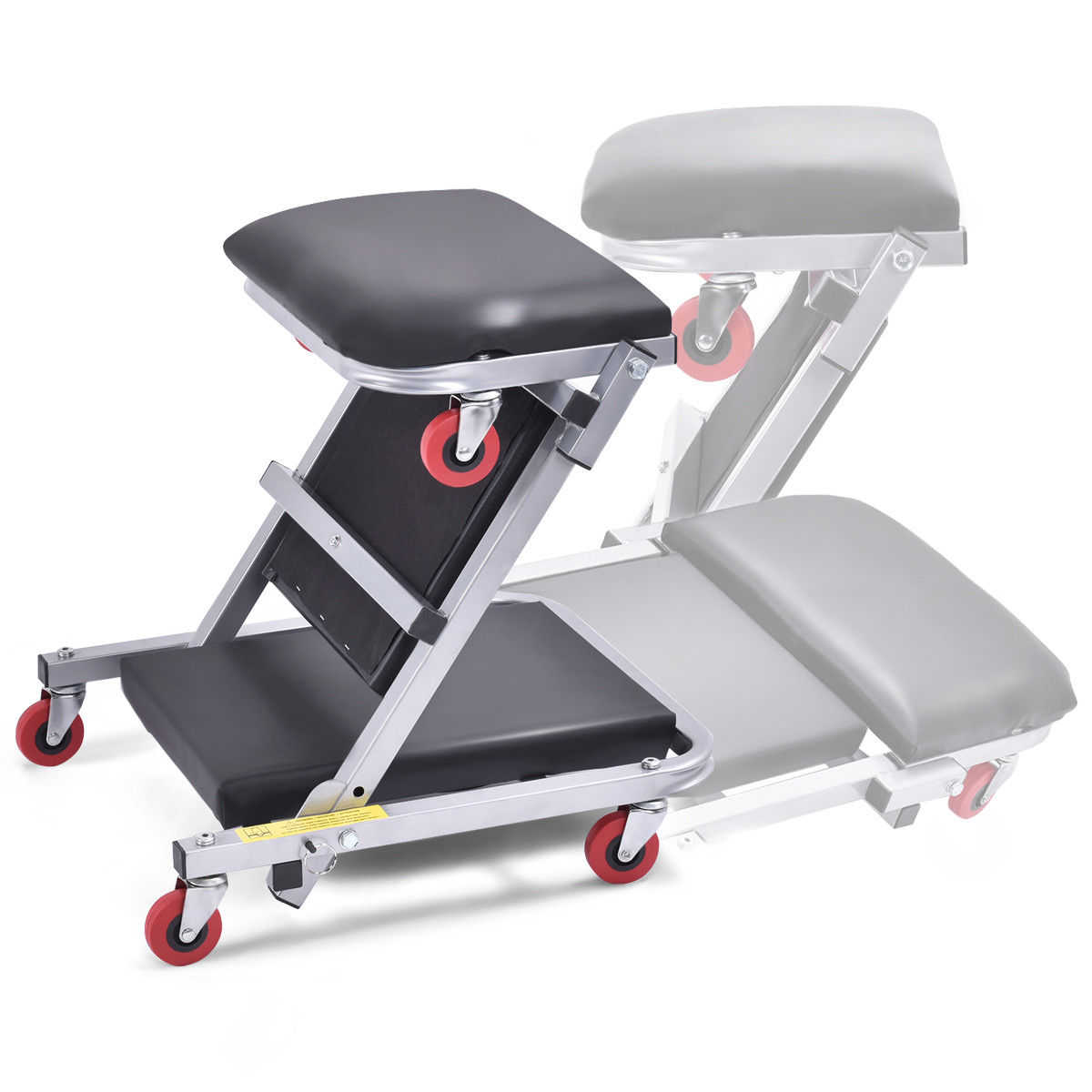 Costway 41'' 2 In 1 Foldable Mechanics Z Creeper Seat Rolling Chair Garage Work Stool