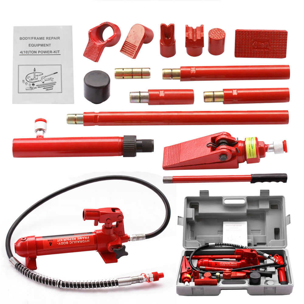 Zeny 4 Ton Porta Power Hydraulic Jack Body Frame Repair Kit Auto Shop Tool Heavy Set