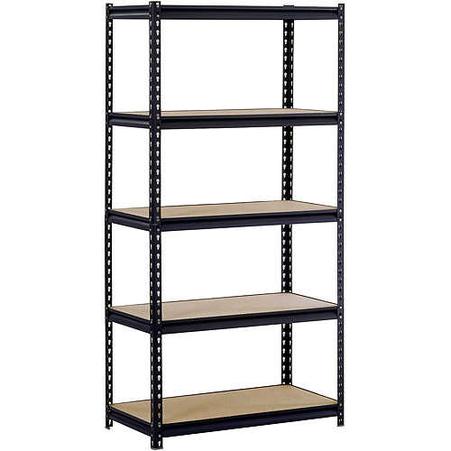 Muscle Rack 36'W x 18'D x 72'H Five-Shelf Steel Shelving, Black