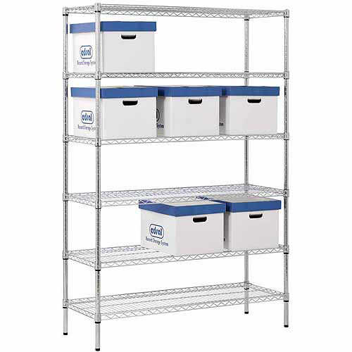6-Shelf 48'W x 72'H x 18'D Steel Shelving Unit, Zinc
