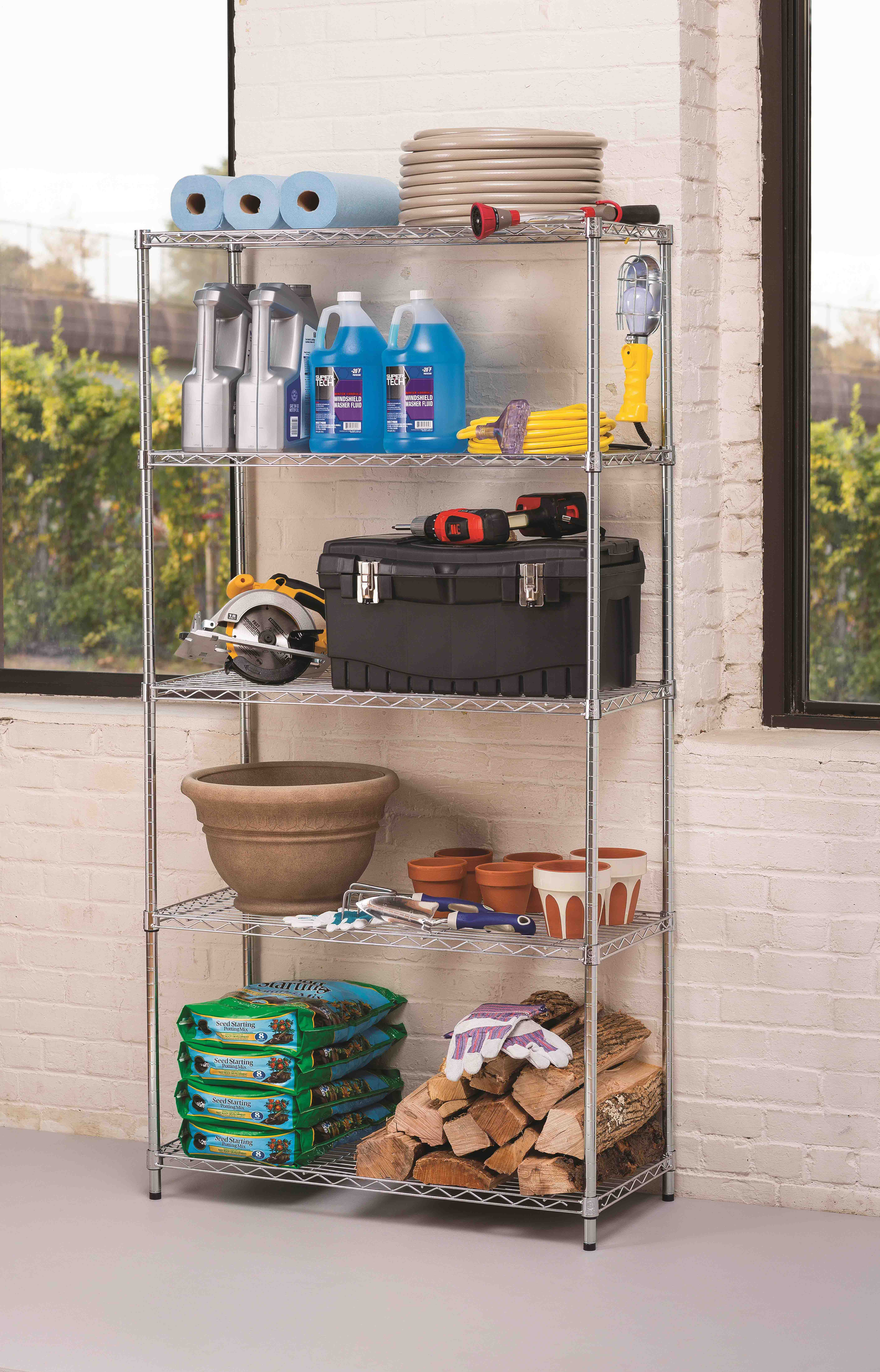 Hyper Tough 5 Tier Wire Shelving Rack, Zinc, 16'Dx36'Wx72'H