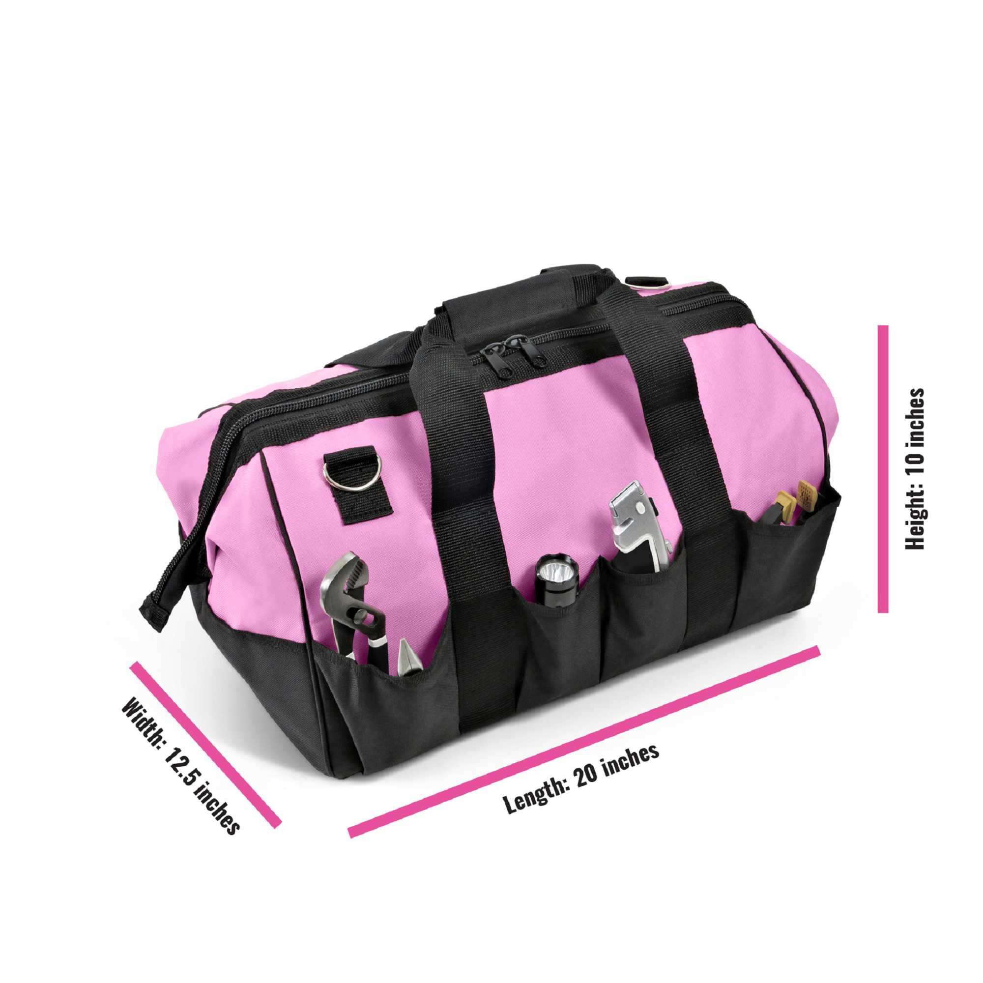 Pink Power 20' Tool Bag for Women with 28 Storage Pockets and Shoulder Strap